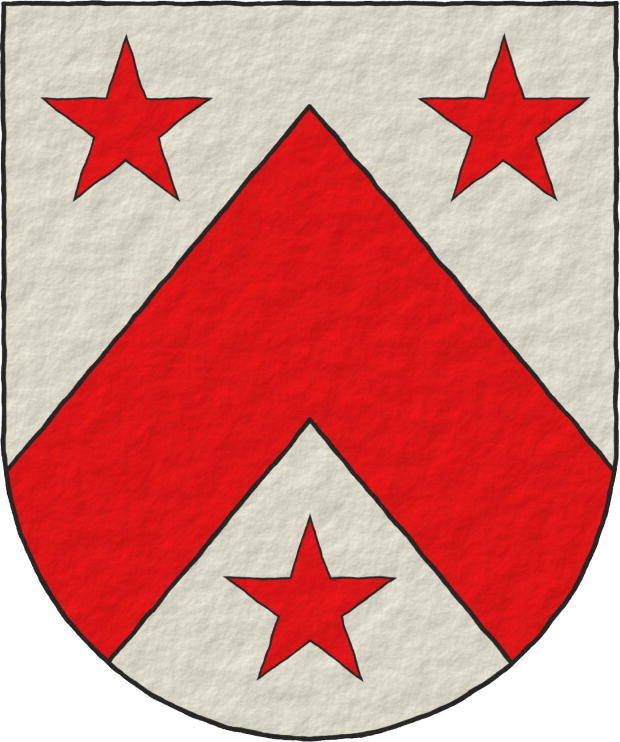 Argent, a Chevron Gules between three Mullets Gules.