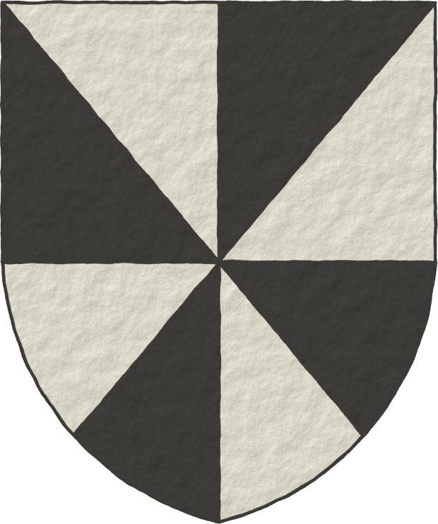 Gironny of eight Argent and Sable.