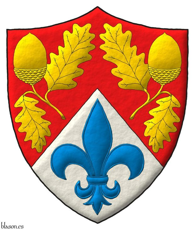 Parted per chevron Gules and Argent, two Acorns slipped Or and in base a Fleur de lis Azure.