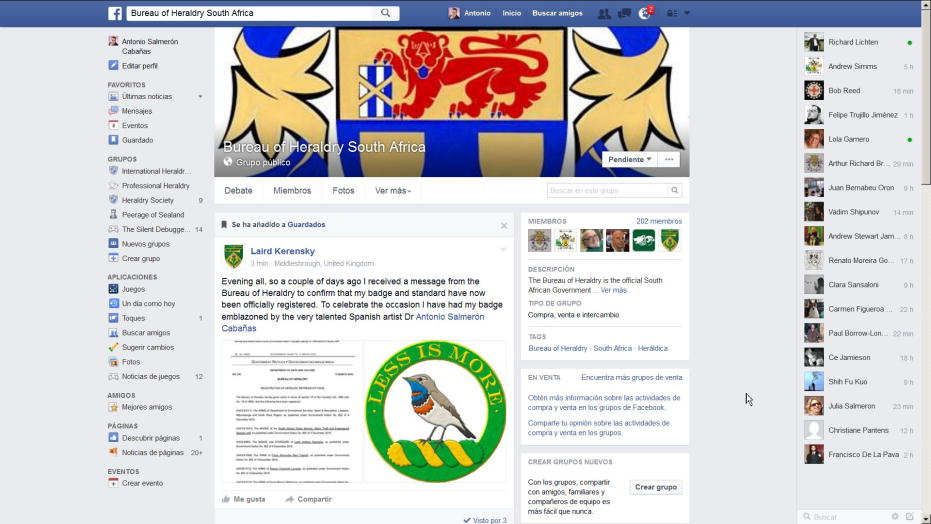 Facebook group, Bureau of Heraldry South Africa