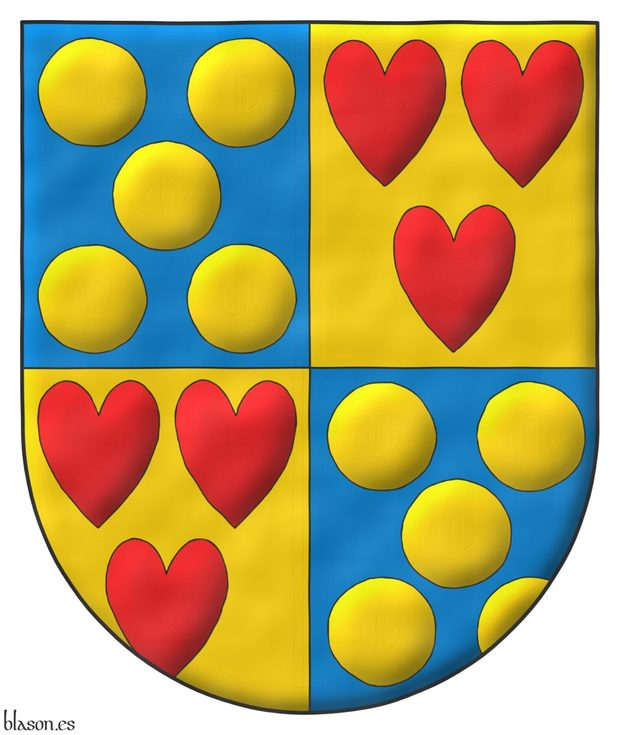 Quarterly: 1 and 4 Azur, five Bezants saltirewise; 2 and 3 Or, three hearts Gules ordered.