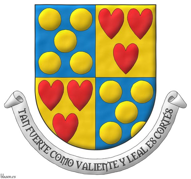 Quarterly: 1 and 4 Azure, five Bezants in saltire; 2 and 3 Or, three hearts Gules ordered. Motto: «Tan fuerte como valiente y leal es Cortés».
