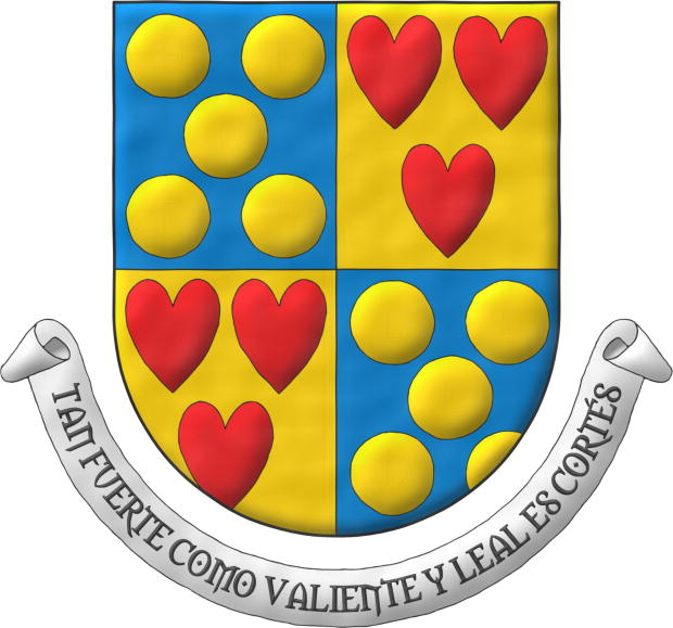 Quarterly: 1 and 4 Azur, five Bezants saltirewise; 2 and 3 Or, three hearts Gules ordered. Motto: «Tan fuerte como valiente y leal es Cortés».