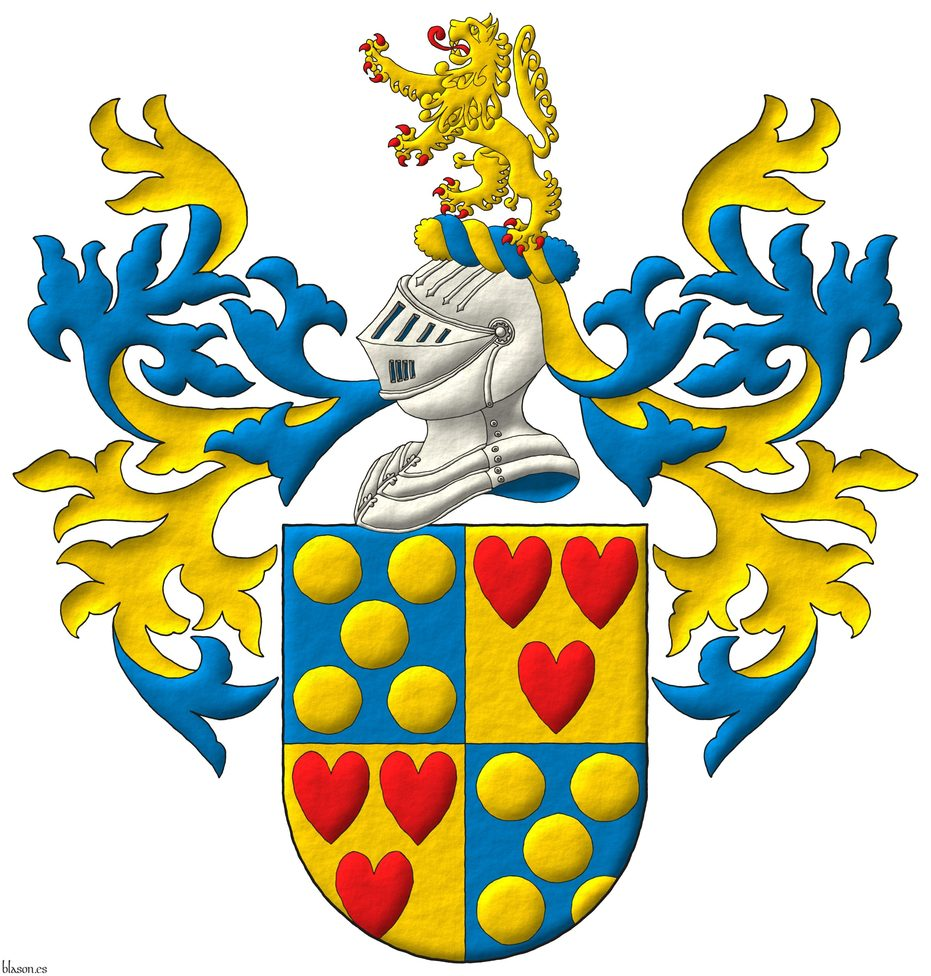 Quarterly: 1 and 4 Azure, five Bezants in saltire; 2 and 3 Or, three hearts Gules ordered. Crest: Upon a Helm Argent with a Wreath Or and Azure a Lion rampant Or, langued and armed Gules. Mantling: Azure doubled Or.