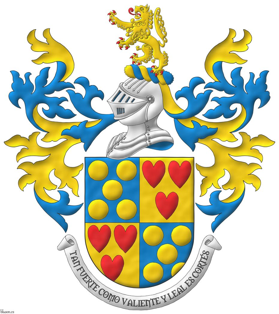 Quarterly: 1 and 4 Azur, five Bezants saltirewise; 2 and 3 Or, three hearts Gules ordered. Crest: Upon a Helm Argent with a Wreath Or and Azure a Lion Or, rampantant, langued and armed Gules. Mantling: Azure doubled Or. Motto: «Tan fuerte como valiente y leal es Cortés».