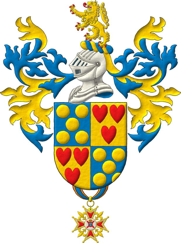 Quarterly: 1 and 4 Azure, five Bezants in saltire; 2 and 3 Or, three hearts Gules ordered. Crest: Upon a Helm Argent with a Wreath Or and Azure a Lion rampant Or, langued and armed Gules. Mantling: Azure doubled Or. Suspended from the base the badge of commander of the Hermandad Nacional Monárquica de España.