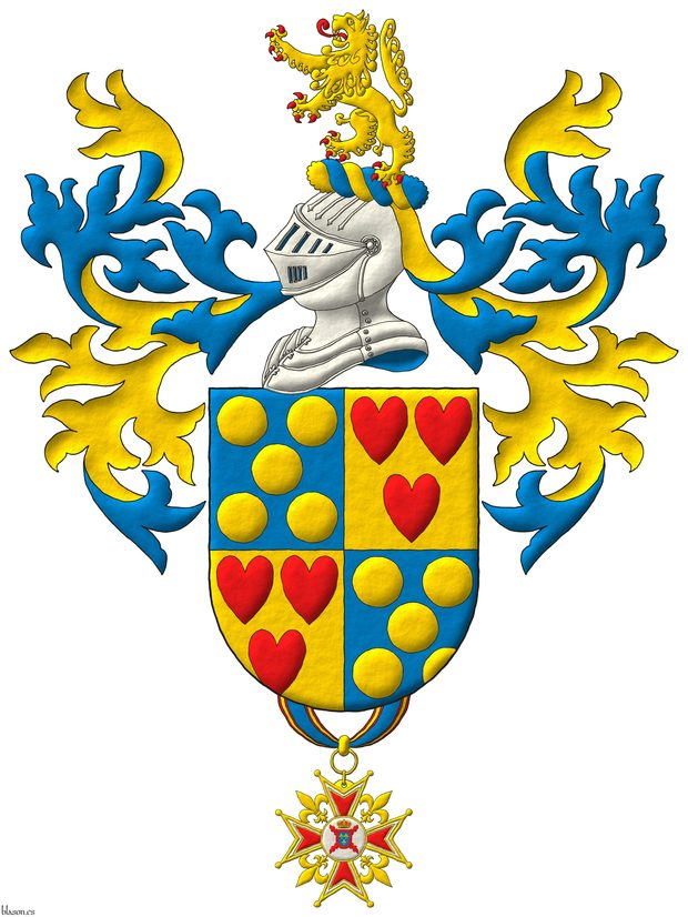 Quarterly: 1 and 4 Azur, five Bezants saltirewise; 2 and 3 Or, three hearts Gules ordered. Crest: Upon a Helm Argent with a Wreath Or and Azure a Lion Or, rampantant, langued and armed Gules. Mantling: Azure doubled Or. Suspended from the base the badge of commander of the Hermandad Nacional Monárquica de España.