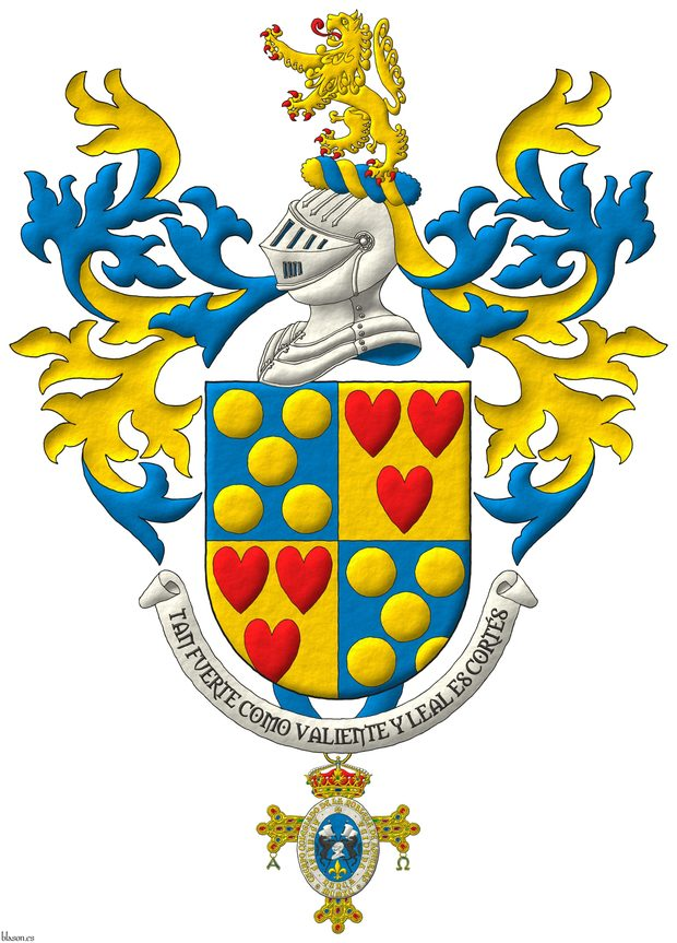 Quarterly: 1 and 4 Azur, five Bezants saltirewise; 2 and 3 Or, three hearts Gules ordered. Crest: Upon a Helm Argent with a Wreath Or and Azure a Lion Or, rampantant, langued and armed Gules. Mantling: Azure doubled Or. Suspended from the base the insignia of the Cuerpo de la Nobleza del Principado de Asturias. Lema: «Tan fuerte como valiente y leal es Cortés».