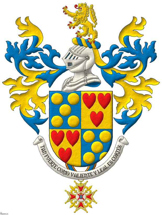 Quarterly: 1 and 4 Azure, five Bezants in saltire; 2 and 3 Or, three hearts Gules ordered. Crest: Upon a Helm Argent with a Wreath Or and Azure a Lion rampant Or, langued and armed Gules. Mantling: Azure doubled Or. Suspended from the base the badge of commander of the Hermandad Nacional Monárquica de España. Lema: «Tan fuerte como valiente y leal es Cortés».