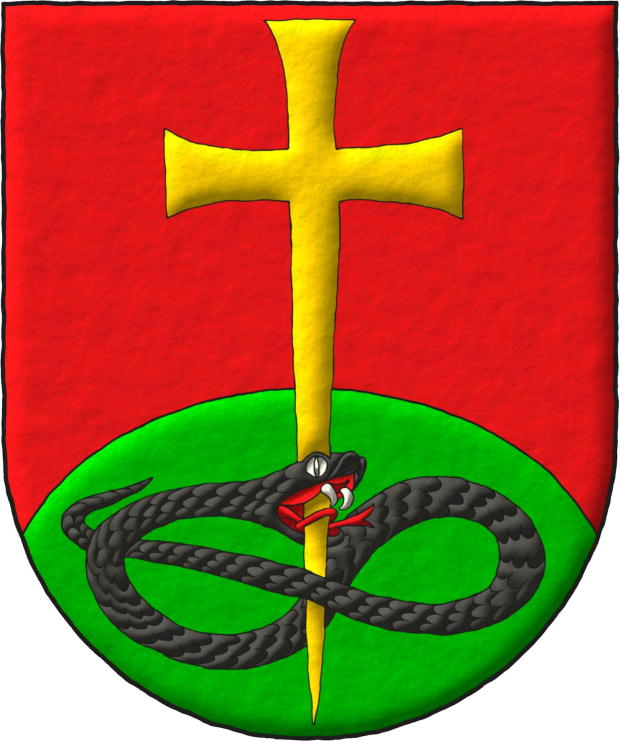 Gules, a Mount Vert, overall a Cross patty fitchy piercing in base the Head of a Serpent nowed and facing sinister Sable.