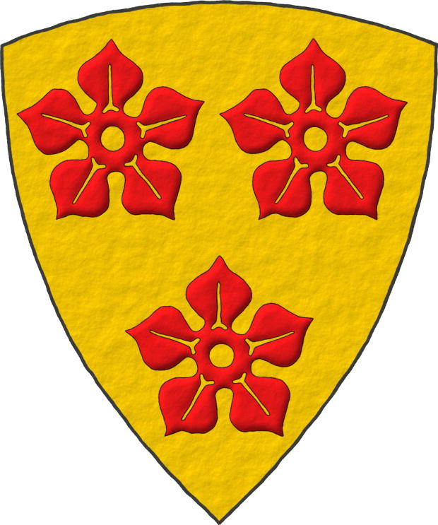 Or, three Cinquefoils Gules.