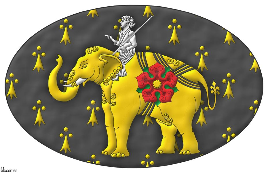 Upon an oval, pean an Indian elephant statant Or, armed Argent, strapped over the belly, hump and rump Sable, cottised Or, charged on his left flank with a rose Gules, barbed Vert, seeded Or; seated on his neck a mahout, in his sinister hand a stick in bend sinister Argent.