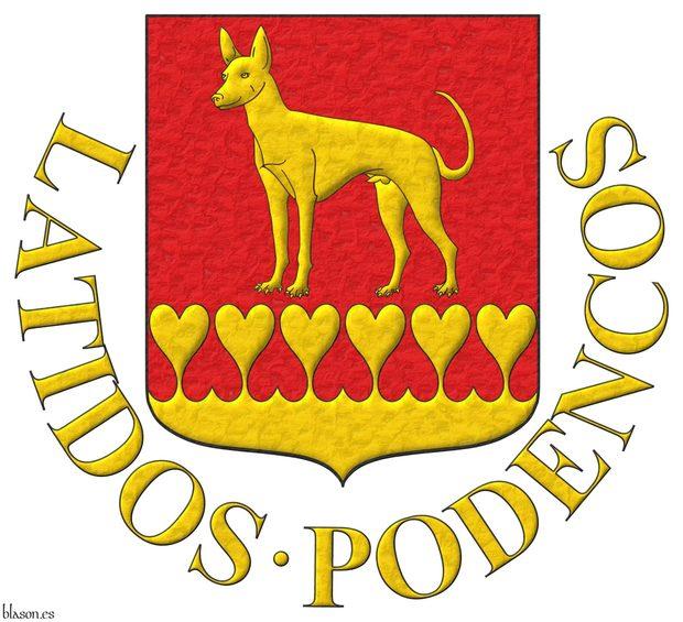 Escudo de gules: un podenco de oro, parado; la campaña encajada de corazones de oro. Divisa: «Latidos Podencos» de oro.
