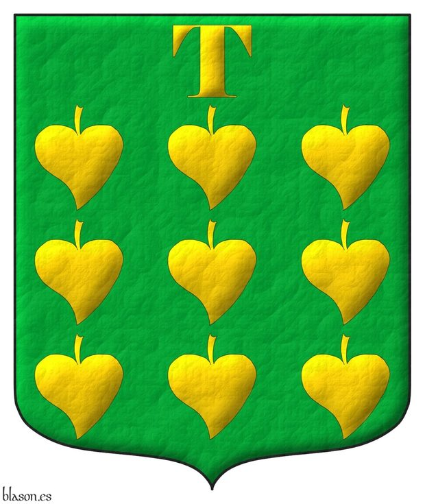 Vert, nine Poplar leaves ordered, in chief a «T» letter Or.