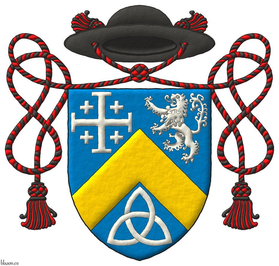 Azure, a chevron Or, between in chief a cross potent cantoned of crosslets, and a lion rampant, and in base a Celtic Trinity knot Argent. Crest: A galero Sable, with two cords, each with one tassel Gules and Sable.