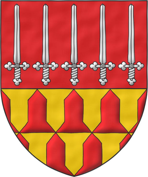 Party per fess: 1 Gules, five Swords Argent, erect, in fess; Vairy or and gules gules and or.