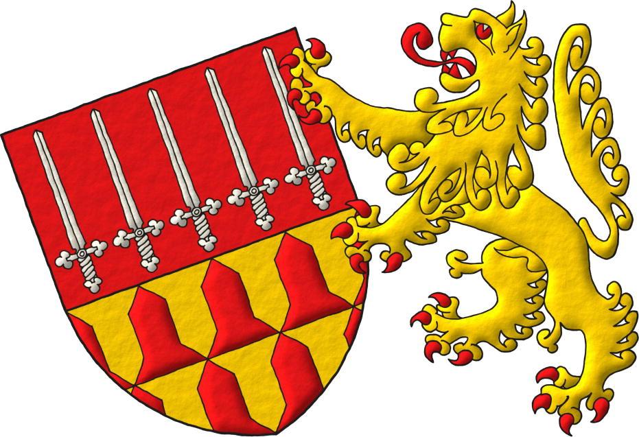Escudo cortado: 1o de gules, cinco espadas de plata, alzadas, puestas en faja; 2o verado de oro y gules. Soporte: Un león de oro, rampante, armado, lampasado, fierezado y encendido de gules a la siniestra.