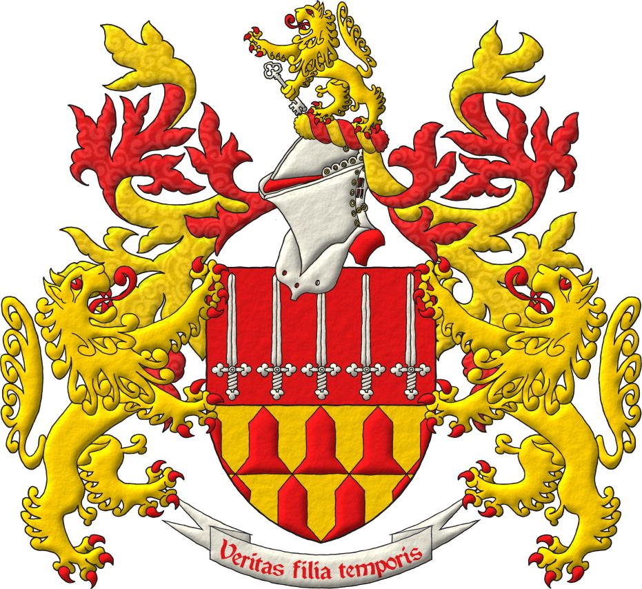 A coat of arms with its crest and 2 supporters