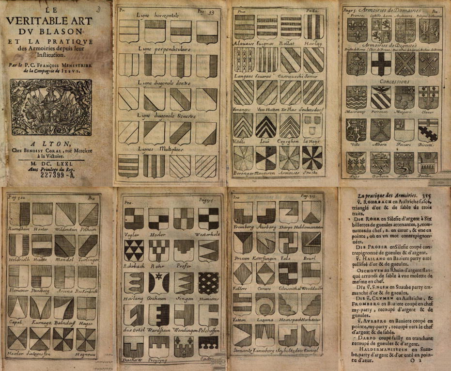 Le veritable art du blason, pages 33, 62, 75, 312, and 315
