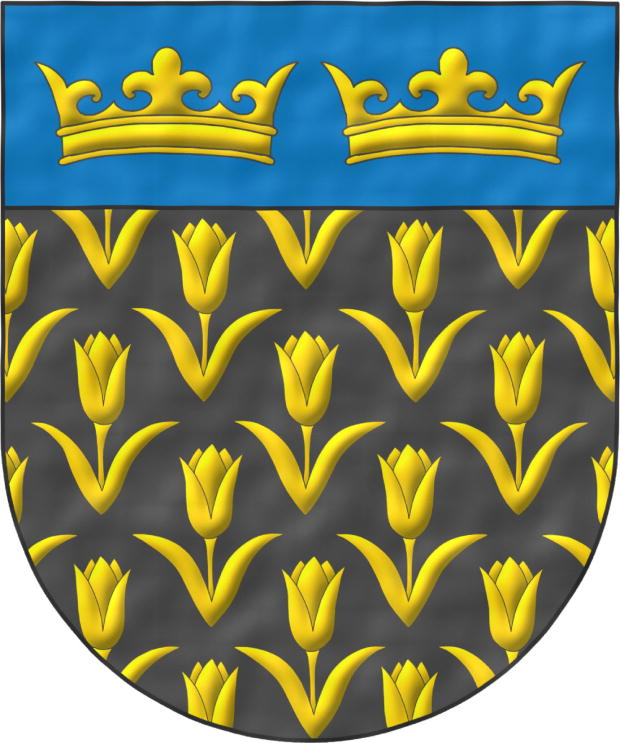 Sable, semé of Tulips Or; on a chief cousu Azure, two Crowns Or, in fess.