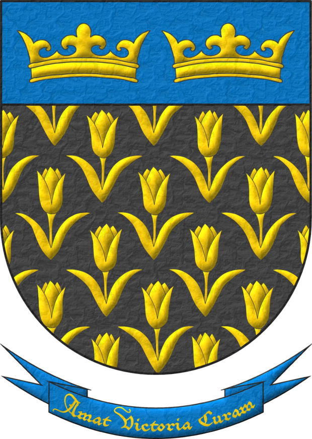 Sable, semé of Tulips Or; on a chief cousu Azure, two Crowns Or, in fess. Motto «Amat victoria curam».