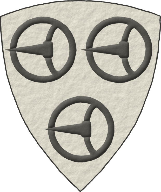 Argent, three Buckles Sable.