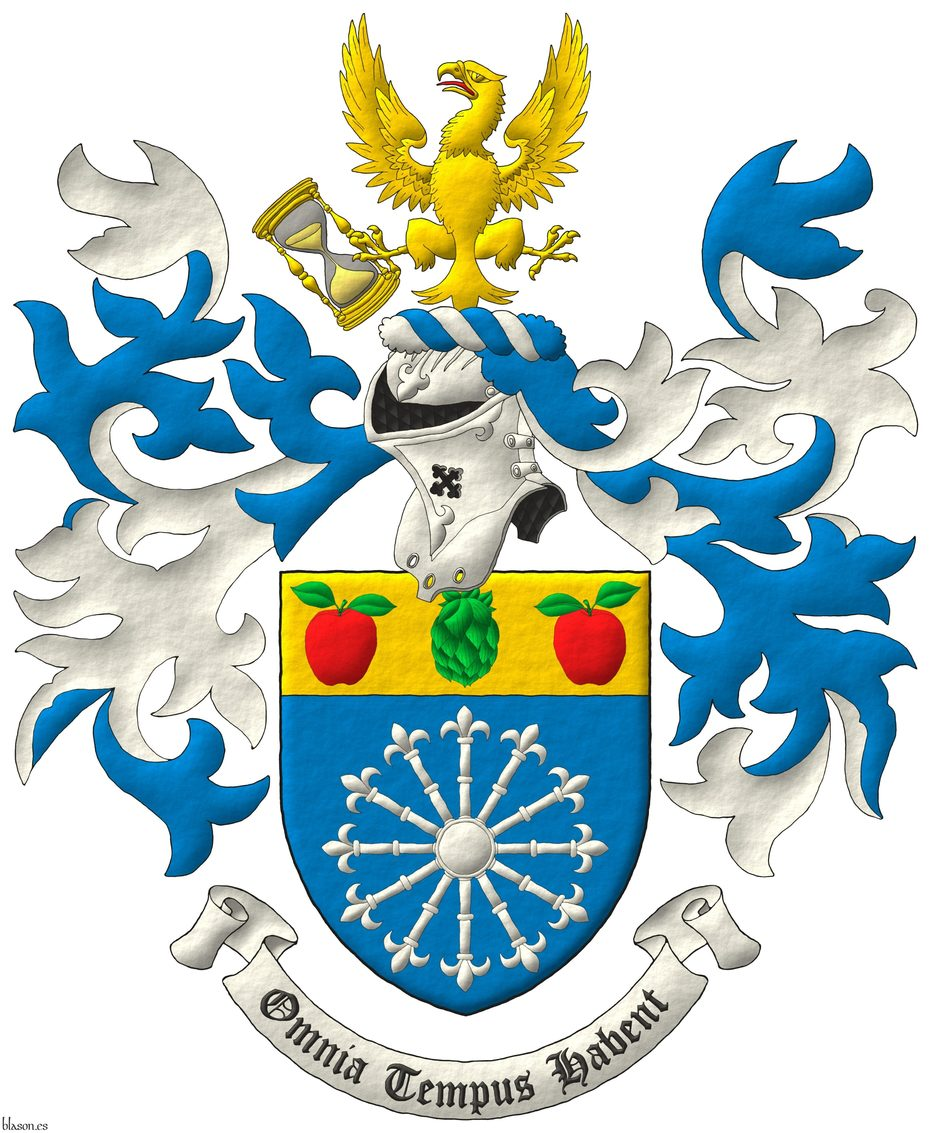 Azure, a carbuncle of twelve rays Argent; on a chief Or, a hop cone Vert between two apples Gules, slipped and leaved Vert. Crest: Upon a helm, with a wreath Argent and Azure, an eagle displayed Or, langued Gules, holding in his dexter talon an hourglass bendwise proper. Mantling: Azure doubled Argent. Motto: «Omnia tempus habent».
