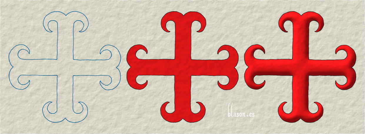 Cross moline Gules, tracing, tincture and illumination.