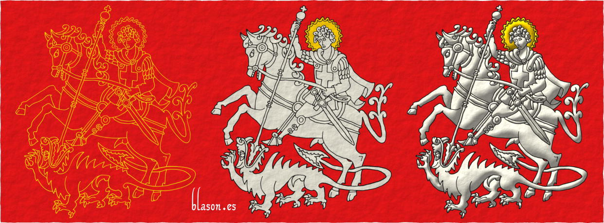 How to paint Saint George with his horse and the dragon