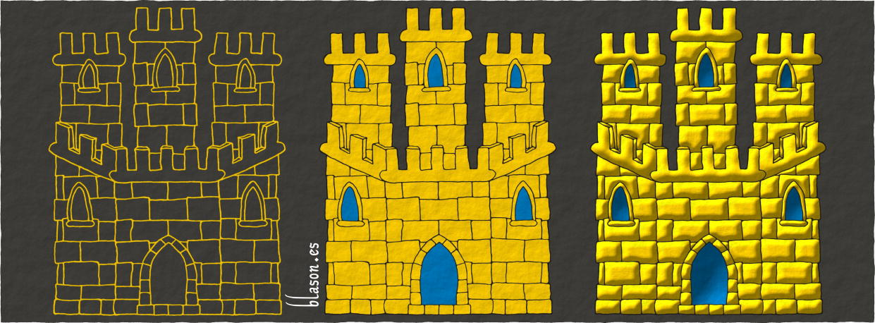 How to paint a Castle Or, triple towered, embattled, port and windows Azure, and masoned Sable