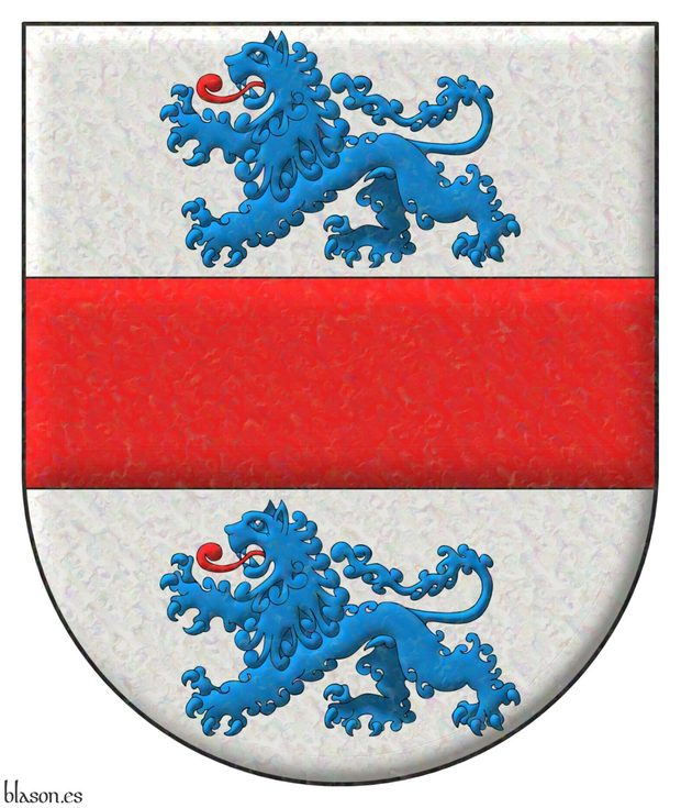 Argent, a Fess Gules between two Lions passant Azure, langued Gules.