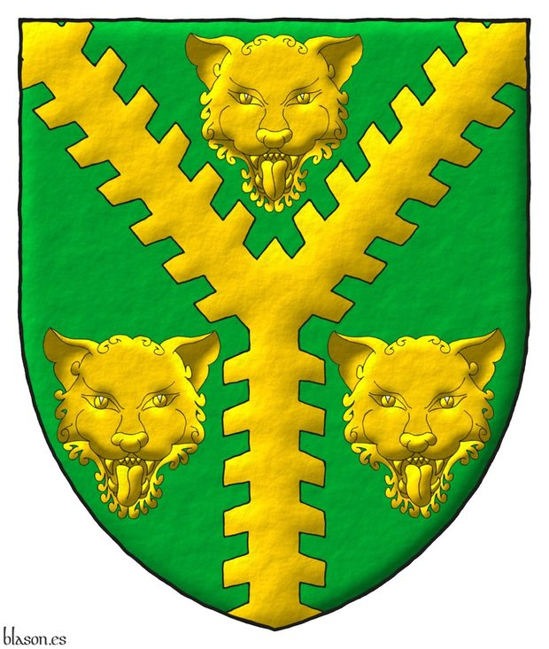 Vert, a Pall raguly Or between three Leopard's faces Or.