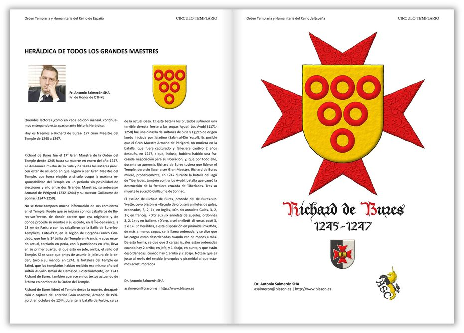 Or, six annulets Gules. Behind the shield an eight-pointed cross patty Gules.