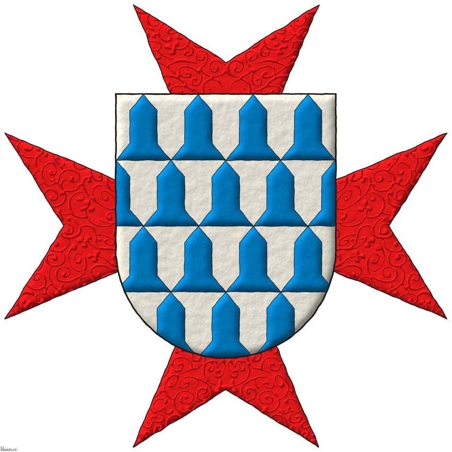 Vair. Behind the shield an eight-pointed cross patty Gules.
