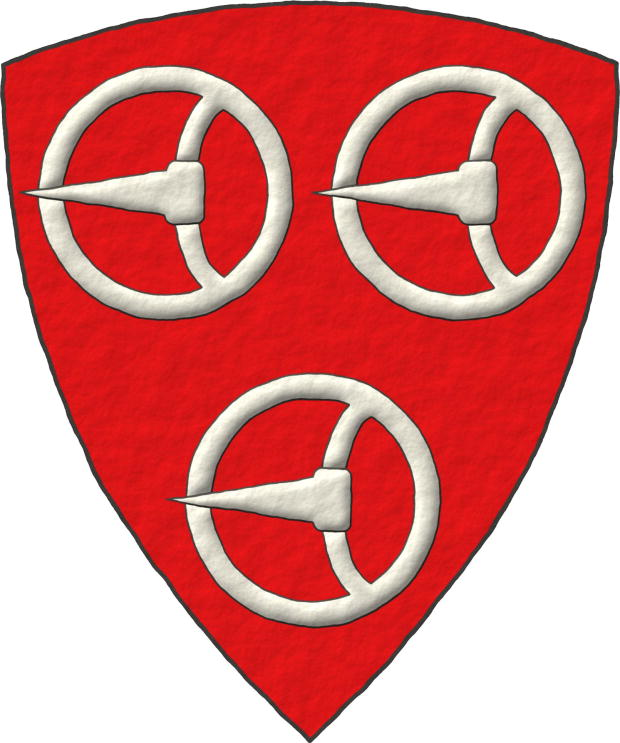 Gules, three Buckles Argent.