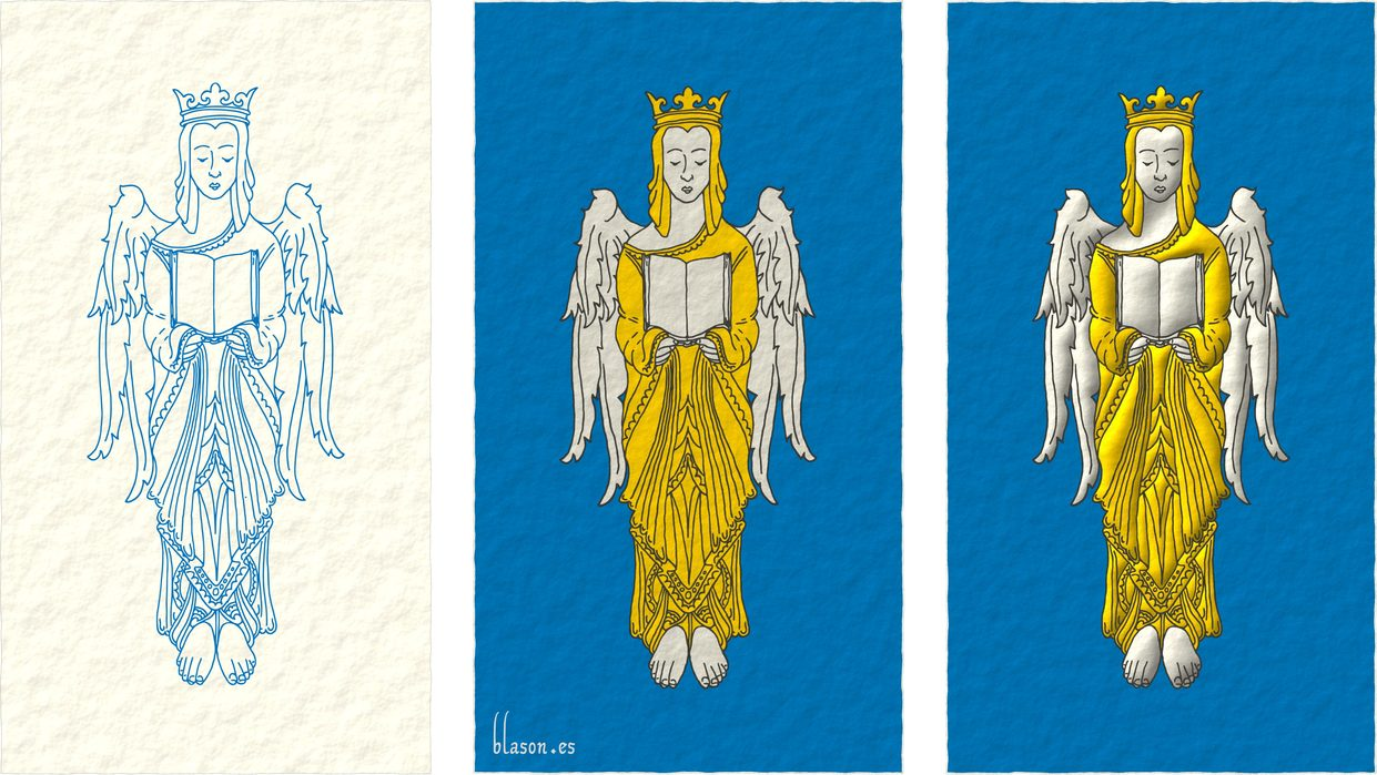 Azure, an Angel Argent, crowned, crined and vested Or holding an open Book Argent.
