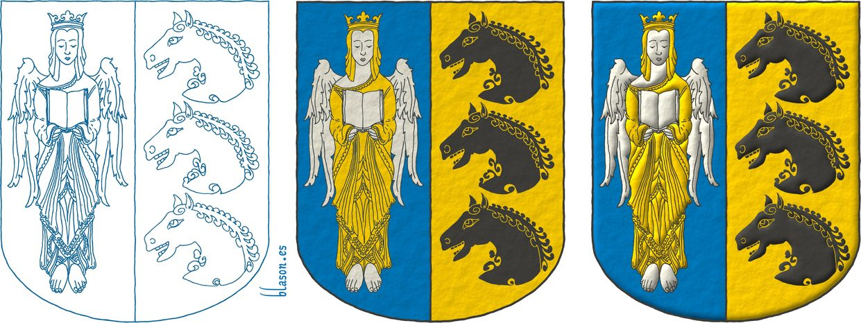Party per pale: 1 Azure, an Angel Argent, crowned, crined and vested Or holding an open Book Argent; 2 Or, three Horse's heads Sable, couped, in pale.