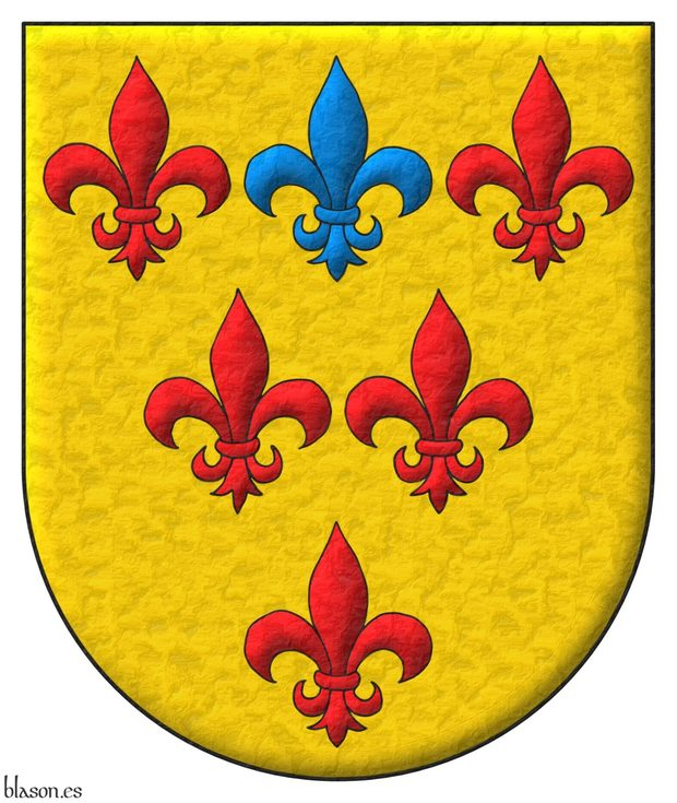 Or, six Fleurs de Lys, three, two, one, five Gules and one in the middle of the chief Azure.