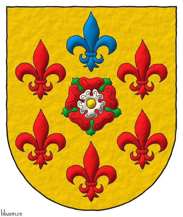 Or, a double Rose Gules and Argent, barbed Vert, and seeded Or within six Fleurs de lis in orle, five Gules and one in chief Azure.