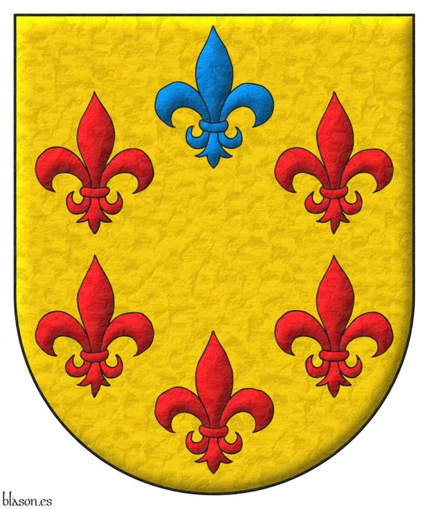Or, six Fleurs de lis in orle, five Gules and one in chief Azure.