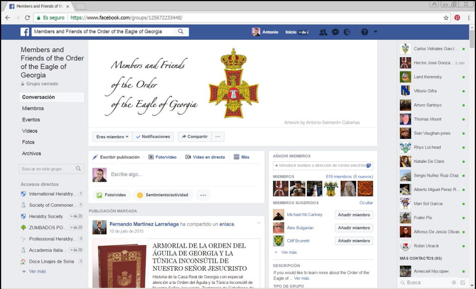 Facebook group, Order of the Eagle of Georgia