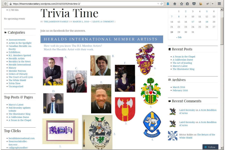 The Armorial Social Diary, Trivia time II
