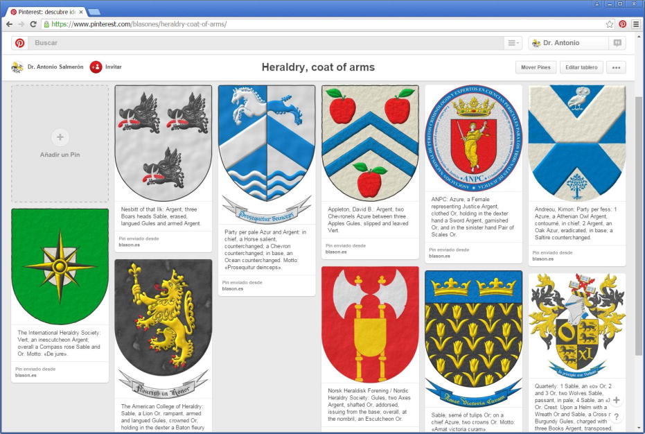 Pinterest, board of heraldry and coats of arms